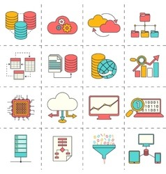 Data analysis flat line icons vector image