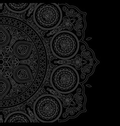 Delicate white mandala pattern in boho style vector