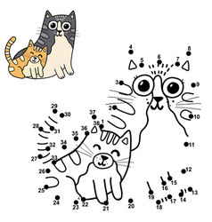 dot to dot puzzle for kids with cute cats - mother vector image