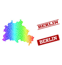 Dotted spectrum map of berlin city and grunge vector