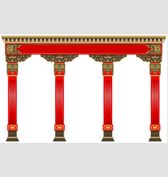 Eastern chinese arch carved red gold columns vector