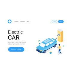 electric car parking isometric concept vector image