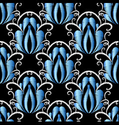 embroidery blue damask seamless pattern tapestry vector image