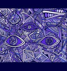fantastic bizarre shamanic eyes crazy patterns vector image