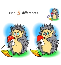 Find 3 differences hedgehog vector image