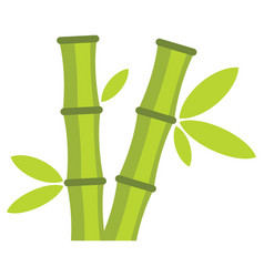 flat cartoon green bamboo icon isolated on white vector image