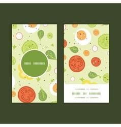 fresh salad vertical round frame pattern vector image