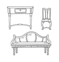 furniture set - antique bureau tables chair vector image