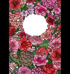 Garden flowers mock up frame vector