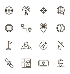 Geolocation navigation black thin line icon set vector