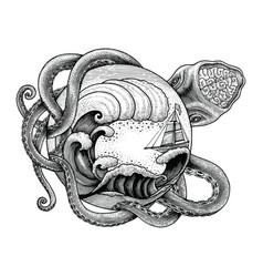 giant octopus attacking ship and big ocean wave vector image