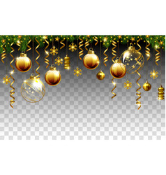 glass christmas evening balls on a transparent vector image