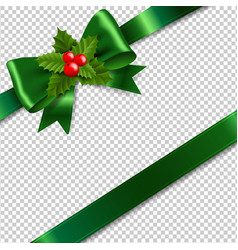 Green bow with holly berry transparent background vector