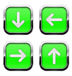 Green buttons with arrows square 3d icons with vector
