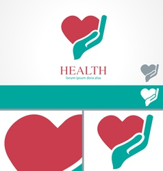 Hand heart wellness health design logo template vector