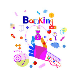 hand holding money bag business banking concept vector image