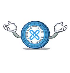 Hand up gxshares coin character cartoon vector