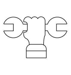 Hand wrench icon outline style vector