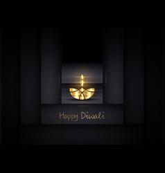 Happy diwali indian lights festival burning lamp vector