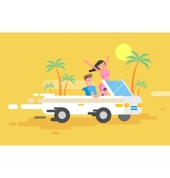happy guy drives a white convertible vector image
