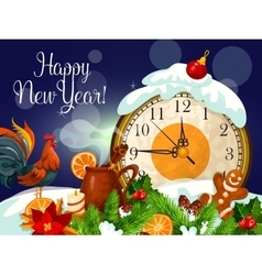 Happy New Year poster with clock vector