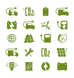 Icon set of electric car and ecology vector