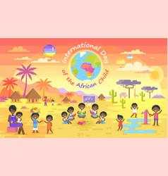 international day of african child on color poster vector image