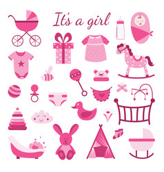 It is a girl - pink baby toys set gender reveal vector
