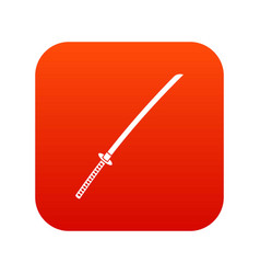 Japanese katana icon digital red vector