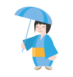 Japanese woman with kimono and umbrella vector