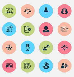 job icons set with businesswoman businessman vector image