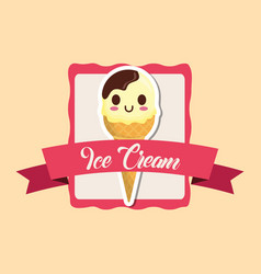 Kawaii ice cream design vector
