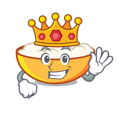 King cottage cheese mascot cartoon vector