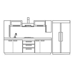 Kitchen interior design home furniture vector
