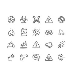 line warnings icons vector image