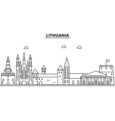 Lithuania architecture line skyline vector
