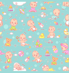 little baby child objects and toys seamless vector image