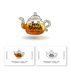 Logo tea break yellow teapot cafe vector