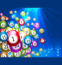Lottery game balls with numbers on a colored vector