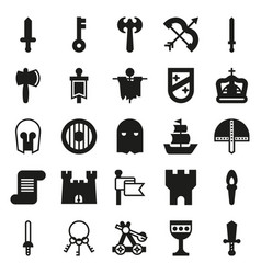 medieval icon set of black simple icons vector image