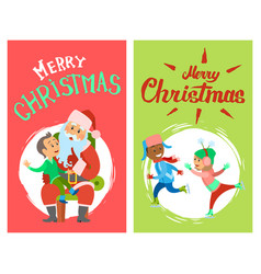 merry christmas card with adults and santa vector image
