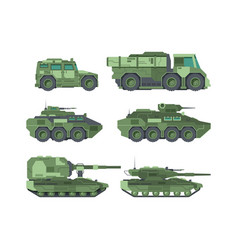 Military cars types flat set vector