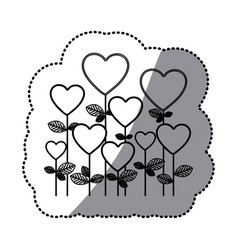 Monochrome sticker silhouette with floral vector