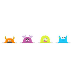 Monster set hands holding line colorful vector