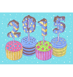 New Years cupcakes vector image