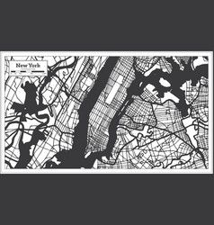 New york usa city map in black and white color vector