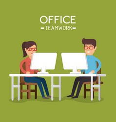 office teamwork people using computer vector image