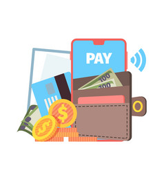 online wallet concept phone contactless pay vector image