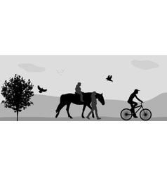 People walking in park on a horse and bicycle vector