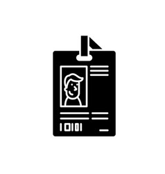 personal pass black icon sign on isolated vector image